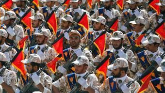 Iranische Revolutionsgarden an der jährlichen Militärparade.