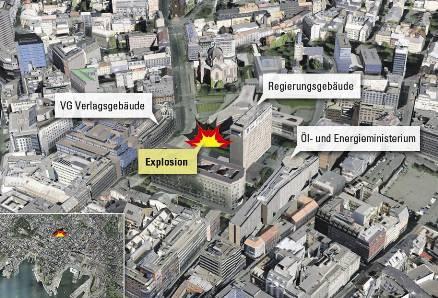 Gewaltige Detonation: Regierungsviertel in Oslo.  Grafik: ssa