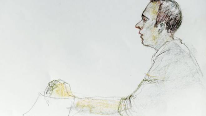 Der Mörder Daniel H. beim ersten Prozesstag. Bild: Key