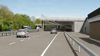 A1 Lenzburg: Die Halbüberdeckung bei den Hochhäusern wird bereits für drei Fahrstreifen und eine Standspur gebaut, ab 16. November laufen die Vorarbeiten. (Bild: Modell Astra)