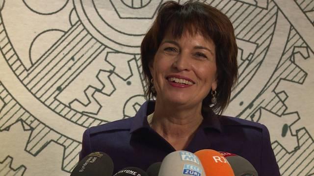 Bundesrätin Doris Leuthard verabschiedet sich mit einer letzten Medienkonferenz