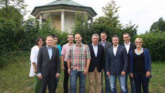 Sie freuen sich auf die HESO (v. l.): Brigitte Kober (Leiterin Hohenlinden), Jean-Marc Bürgi (Vize-Stiftungsratspräsident Hohenlinden), Yosim Halis (Auszubildende Hohenlinden), Stefan Ulrich (Geschäftsführer Region Olten Tourismus), Stefan Gut (Projektleiter Hohenlinden), Andreas Gasche (Projektleiter Sonderschau), Georg Kaufmann (Baudienst HESO), Urs Unterlerchner (Präsident Geschäftsleitung HESO), Thomas Zindel und Michèle Müller (Geschäftsstelle HESO).