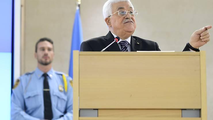 Der palästinensische Präsident Mahmud Abbas während seiner Rede vor dem UNO-Menschenrechtsrat in Genf