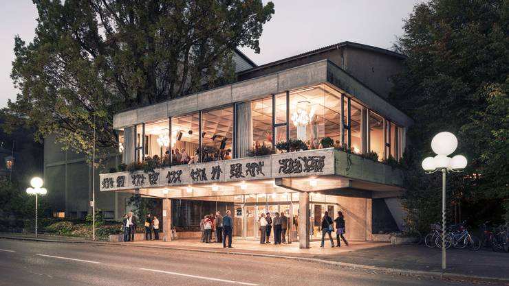 So präsentiert sich das Kurtheater an der Parkstrasse bei Nacht, mit dem nachträglich gebauten Bölsterli-Foyer im Obergeschoss.