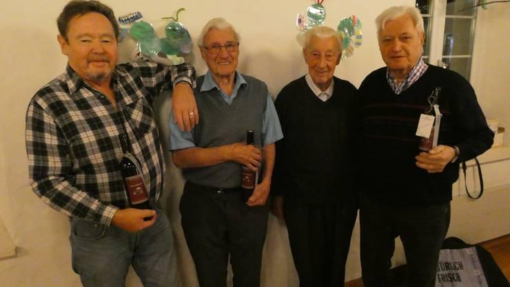 Die geehrten Rainer Liebherr, Edgar Roth, Hans Roth und Karl Spielmann