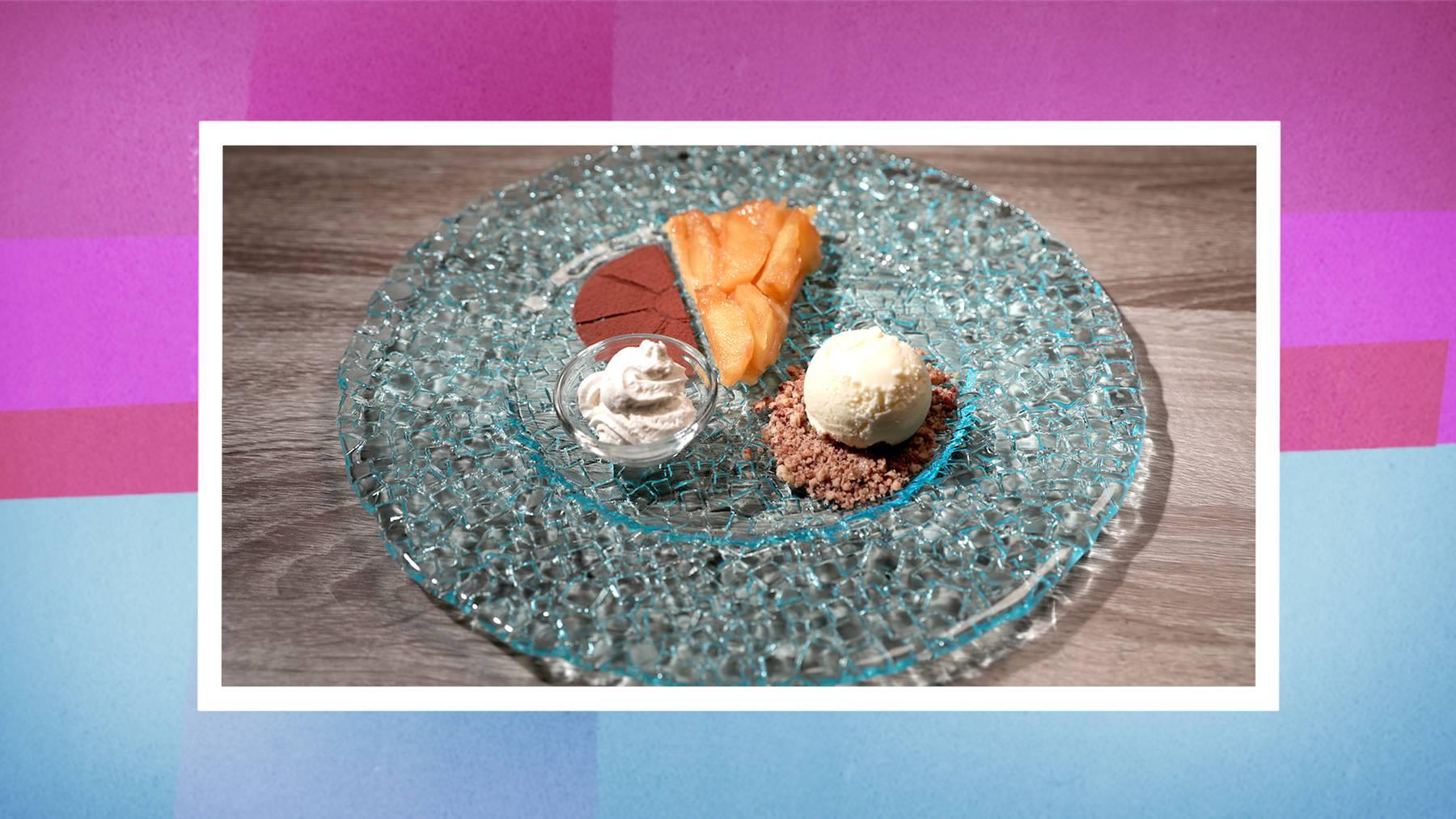 Das Dessert: Tarte Tatin mit Vanilleglace
