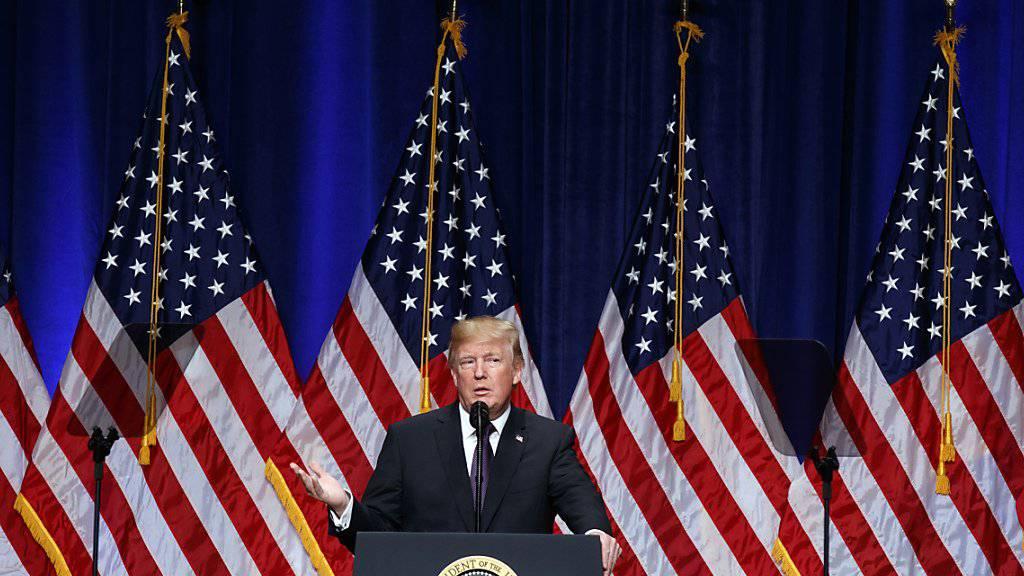 US-Präsident Trump bei seiner Rede zu seiner nationalen Sicherheitsstrategie.