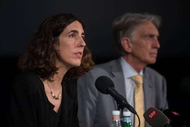 Die Französin Lili Hinstin musste nach nicht einmal zwei Jahren das Festival schon wieder verlassen (hier bei der Antritts-Pressekonferenz mit Präsident Marco Solari.