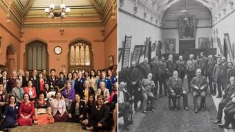 Frauenpower: Ein bunter Kontrast zu dem Schwarz-Weiss-Bild von 1905. Damals sah das Parlament noch ganz anders aus: Nur Männer waren gestattet.