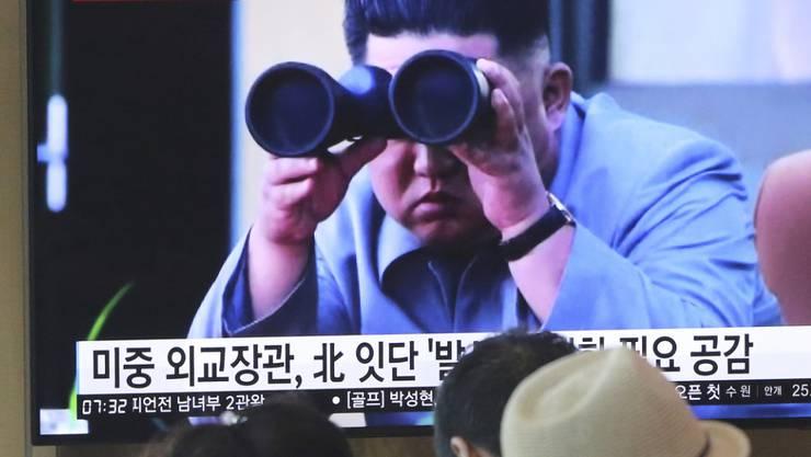 """""""Eine angemessene Warnung"""": Nordkoreas Machthaber Kim Jong Un über die jüngsten Raketentests seiner Militärs. (Archivbild)"""