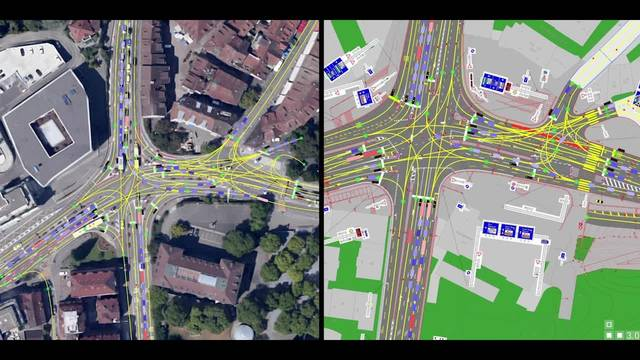Vor der Baustelle – nach der Baustelle: Der Verkehrsfluss über den alten (links) und den neuen Schulhausplatz in der Simulation.