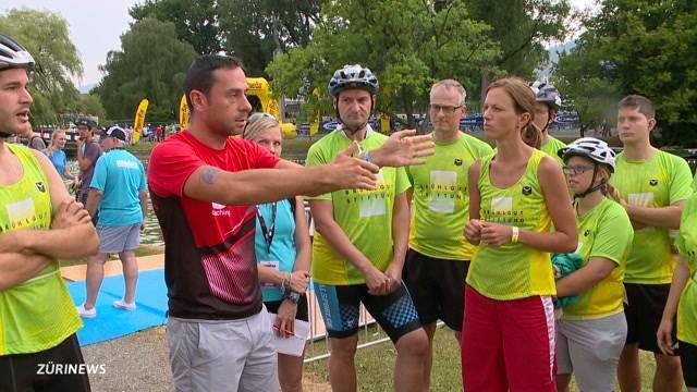 Geistig Beeinträchtigte bestreiten Firmen-Triathlon