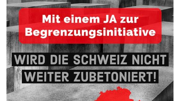 Mit diesem Sujet machte die SVP Werbung für die Begrenzungsinitiative. Auf dem Hintergrund ist das Holocaust-Mahnmal in Berlin zu sehen.