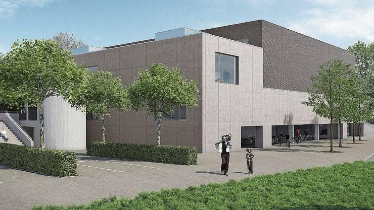 So soll die neue Dreifachhalle in der Wohler Hofmatten im Endstadium aussehen.