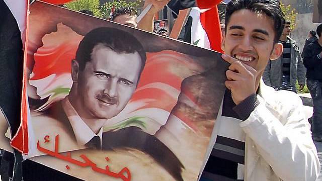 Ein Anhänger des Präsidenten Assad in Damaskus