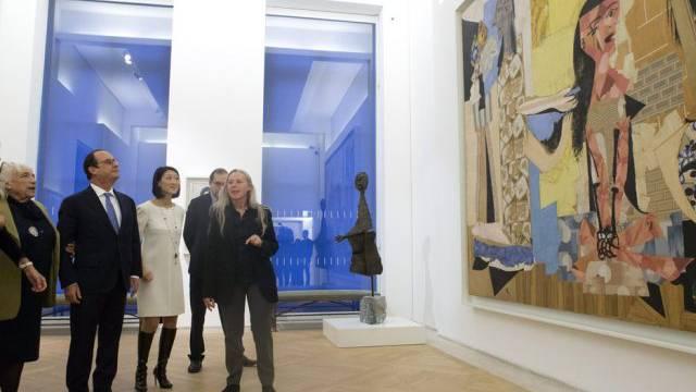 Maya Picasso, die Tochter von Pablo, und Präsident Hollande (v.l.)