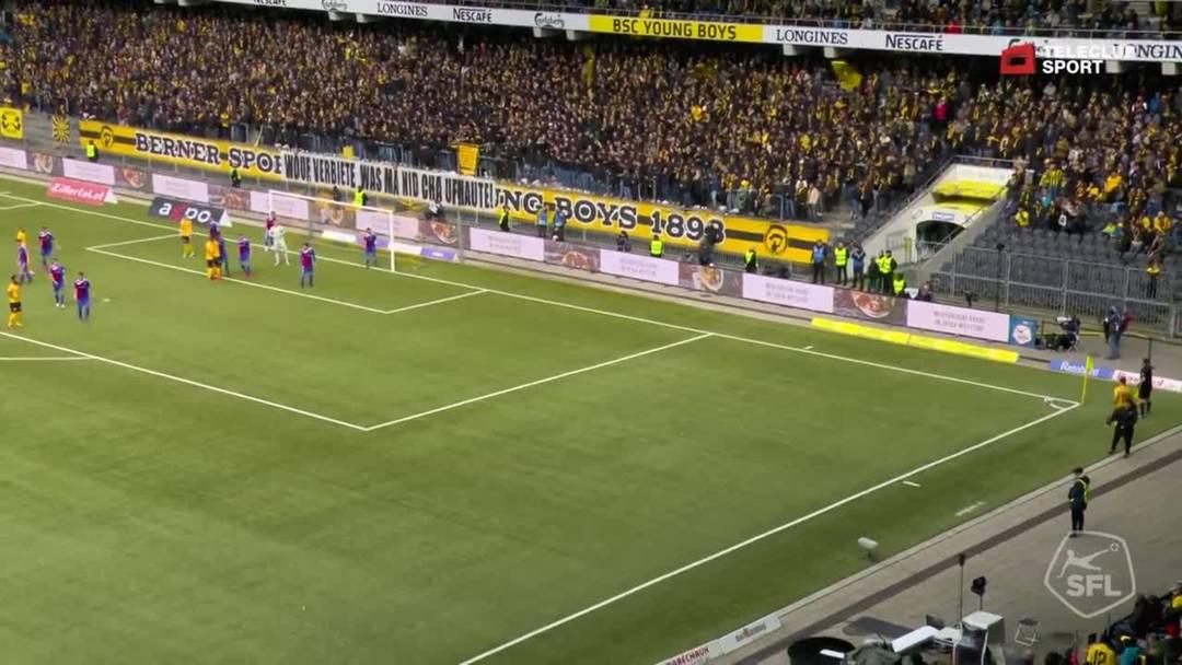 Super League, 2018/19, 33. Runde, YB - FC Basel, 47. Minute: Schuss von Christian Fassnacht.