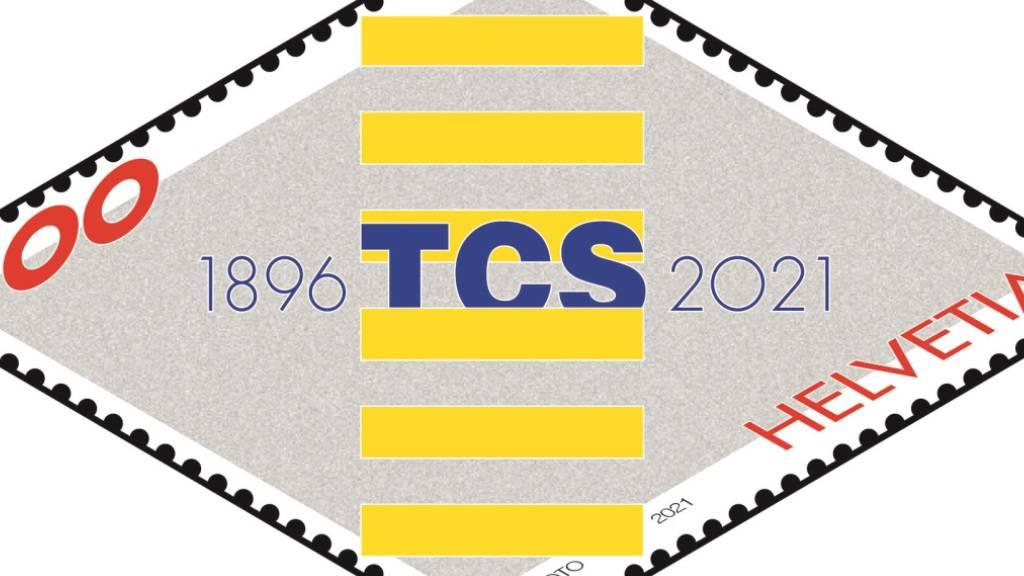 Die Sonderbriefmarke zum 125-jährigen Bestehen des Touring Clubs Schweiz (TCS) zeigt eine perspektivische Strasse mit einem Zebrastreifen in der Mitte.