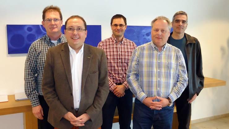 Der Verwaltungsrat der Seniorenzentrum Hubpünt AG mit Gemeinderat Peter Käser, Gemeindeammann Jörg Bruder, den Chestonag-Automation-Vertretern Peter Bruderer, Udo Minneker und Geri Heusi.