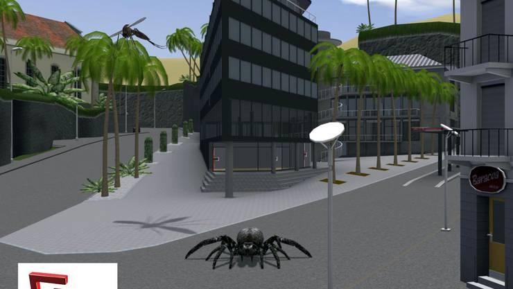 Einblick ins Actionspiel G-Town: Spinnen- und Mückenangriff beim Busbahnhof im Zentrum