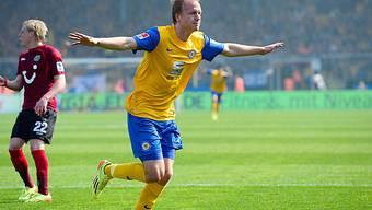Braunschweigs Havard Nielsen nach seinem Treffer zum 2:0