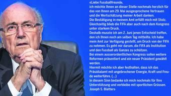Das Wort «Rücktritt» fehlt, und ein Datum ist auch nicht genannt: Wortlaut von Sepp Blatters Brief vom 5. Juni 2015.  Keystone