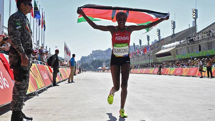 Jemima Jelagat Sumgong ist wegen EPO-Dopings für acht Jahre gesperrt worden