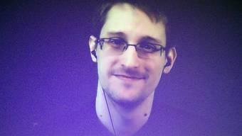 US-Informant Edward Snowden, den Norwegen für sein Handeln ehrte, in einer Videoschaltung aus dem Exil in Russland (Archiv)