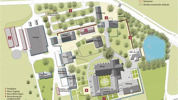 Der Stein des Anstosses ist die Mauer (Punkt 5 auf der Karte): Alle anderen Sanierungen oder Neubauten auf der Klosteranlage Kappel sind unbestritten.Grafik: PD