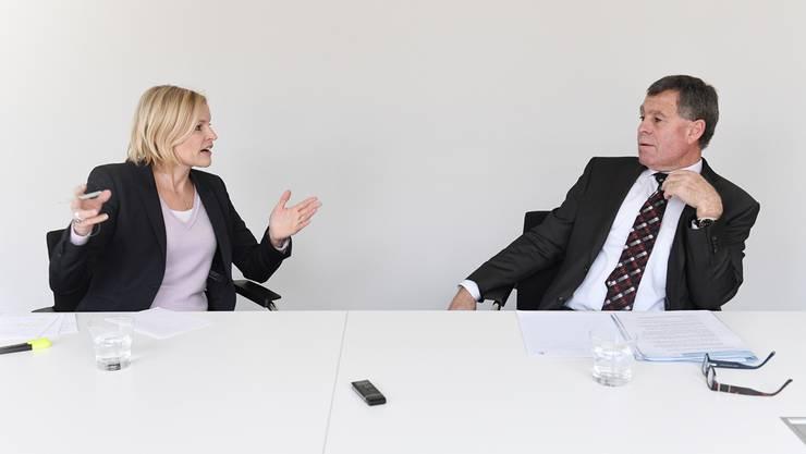 Finanzvorsteherin Yvonne Beutler (SP) und Finanzdirektor Ernst Stocker (SVP)