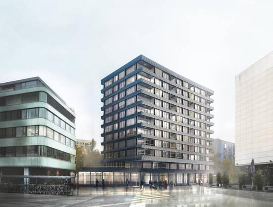 Zur Güterstrasse hin ensteht ein Gebäude mit 26 Metern Fassadenhöhe