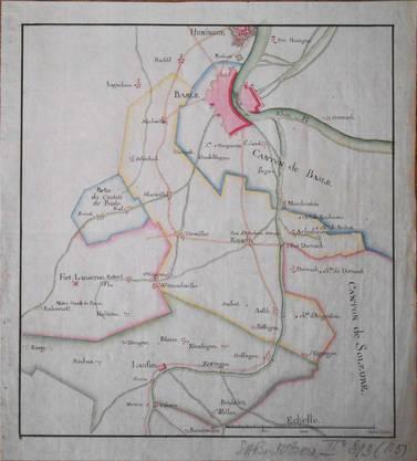 Die Karte zeigt den Versuch der französischen Verwaltung, sich 1795 mit verschiedenen Farben einen Überblick über die Grenzverläufe im Birseck zu schaffen.
