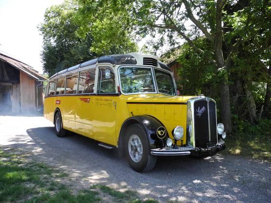 Der Alpenwagen IIIa der Marke Saurer mit Jahrgang 1953 von Hans Mosimann war früher im Engadin im Einsatz.