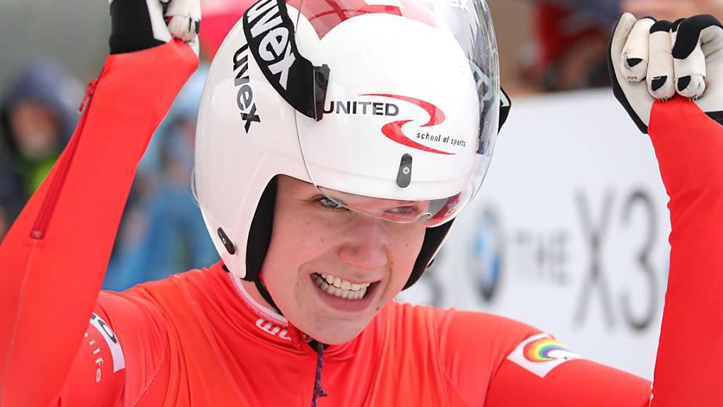 Hat sie auch am Freitag und Samstag auch an der WM Grund zum Jubeln? Natalie Maag freut sich beim Weltcup in Oberhof über einen 8. Platz