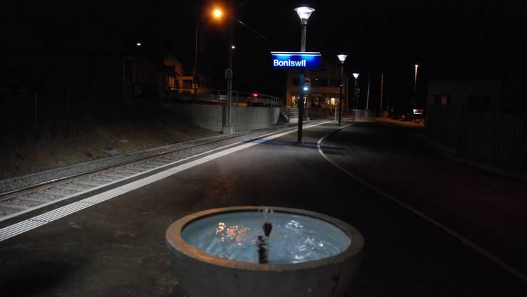 Gespannte Ruhe vor der Einfahrt des ersten Zuges am neuen Bahnhof. Bilder: Toni Widmer