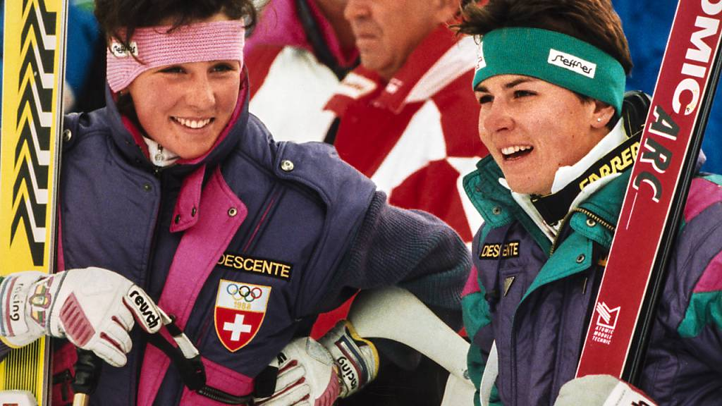 Erinnerungen an Maria Walliser (links) und Michela Figini, die Schweizer Speed-Asse in den Achtzigern