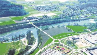 Die Fotomontage zeigt einen möglichen Standort der Rheinbrücke mit Blick von der deutschen Seite aus. Vorne der Obi-Kreisel.