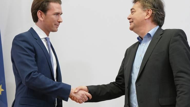 ÖVP-Chef - und wohl der zukünftige Kanzler - Sebastian Kurz (links) mit Grünen-Chef Werner Kogler.