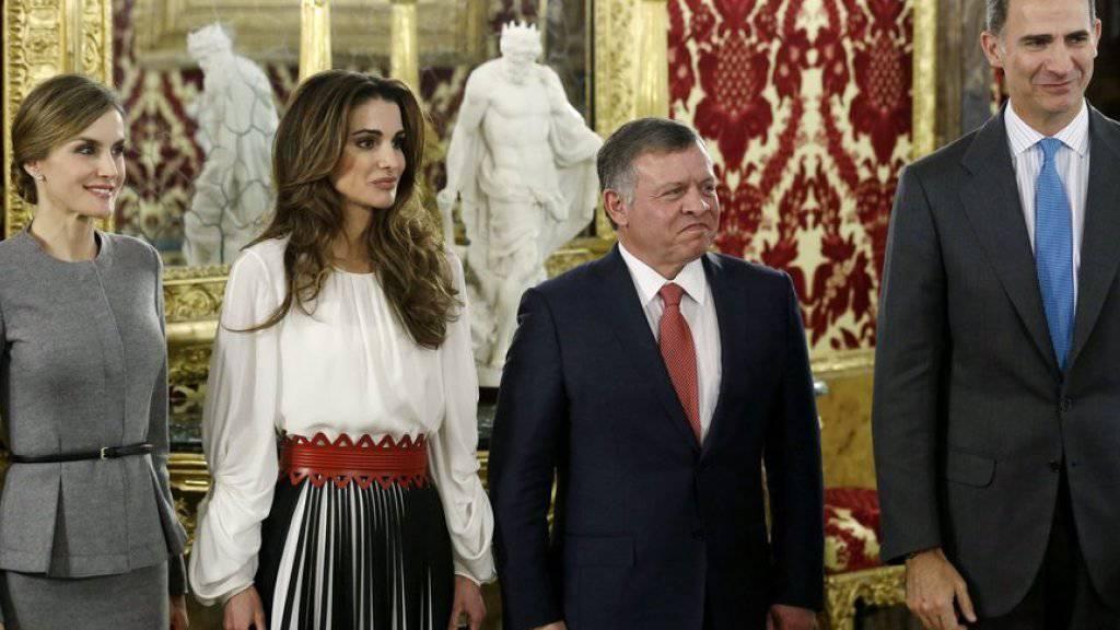 V.l.n.r.: Königin Letizia von Spanien, Königin Rania von Jordanien, König Abdullah II. von Jordanien und der spanische König Felipe VI.