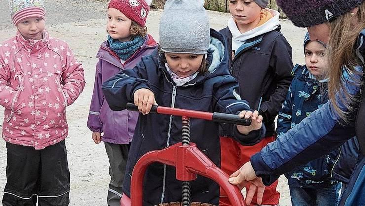 Die Kinder durften selber Most pressen.