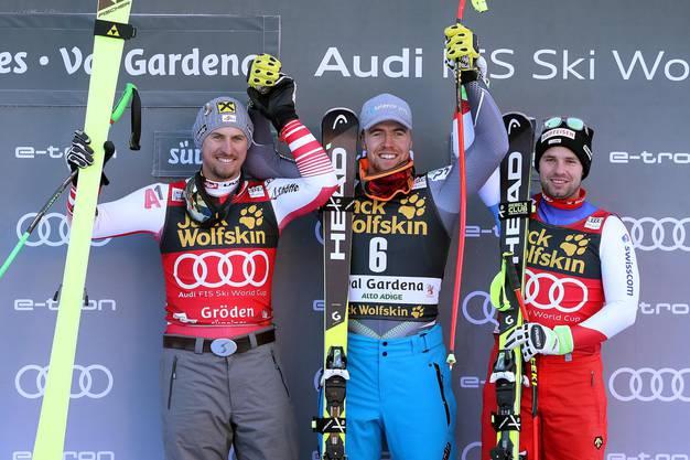 Max Franz (l.) aus Österreich, Gewinner Aleksander Aamodt Kilde (Norwegen) und der Schweizer Beat Feuz