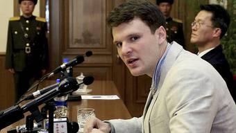 Otto Warmbier bei seiner Gerichtsverhandlung in Nordkorea.