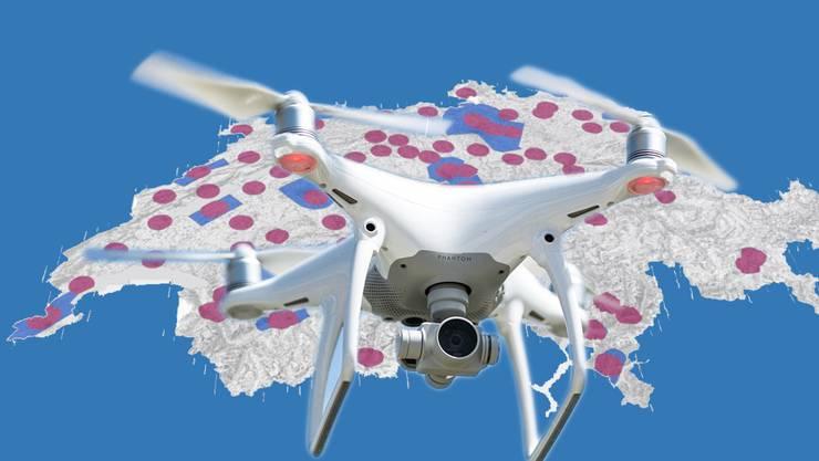 Drohnen dürfen einem Flughafen oder Flugplatz nicht näher als fünf Kilometer kommen. Eine neue interaktive Karte zeigt auf, wo welche Einschränkungen und Verbote gelten.