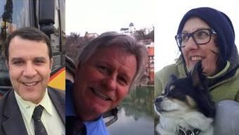 Selfie hoch drei: Roger Fricker vor «seinem» Postauto (von links), Pius Suter am Fenster seines Büros in Laufenburg mit Blick auf den Rhein («diese tolle Aussicht wird mir fehlen, wenn wir im Herbst nach Rheinfelden zügeln») und Claudia Sauser mit Hündin Leia.