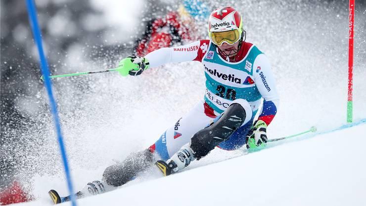 Luca Aerni wurde 2015 in Adelboden im Slalom 19. und holte so als einziger Schweizer Weltcuppunkte.