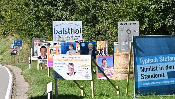 Wahlplakate Wahlkampf Plakatmeer beim Eingang zum Thal Nationalratswahlen Stränderatswahlen Wahlen