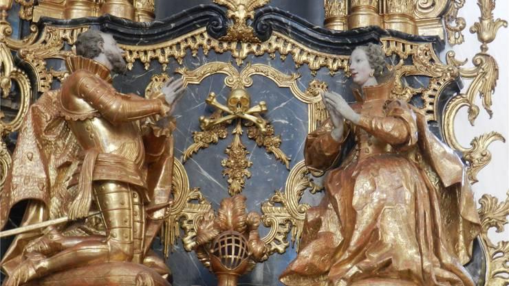 Die Klostergründer Ratbot und Ita von Habsburg auf einem Epitaph in der Klosterkirche Muri.