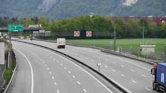 Eine autoleere Autobahn: In den letzten zwei Monate ist der Verkehr bei Härkingen im Gäu deutlich zurückgegangen.