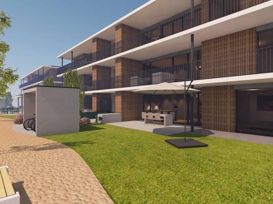 Alle Wohnungen haben einen rund um das Haus herumführenden Balkon mit zwei Sitzplätzen.