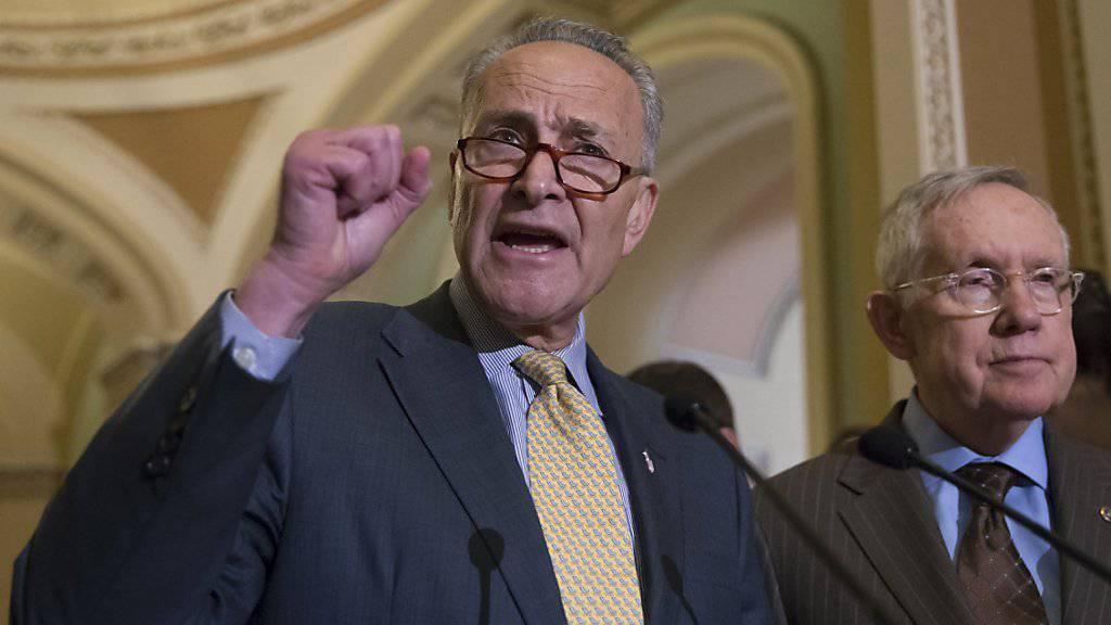 Die demokratischen Senatoren Charles Schumer (links) und Harry Reid kritisieren im Capitol zu Washington die Nähe der Republikaner zur Waffenlobby.
